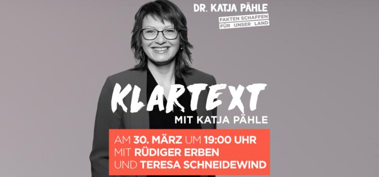 Klartext mit Katja Pähle am 30. März um 19:00 Uhr